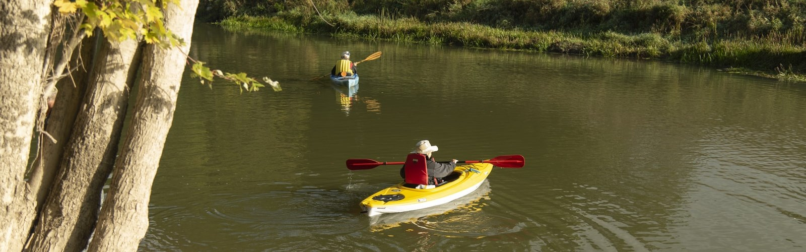 Two older adults kayaking